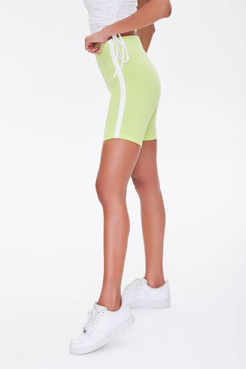 LIME/WHITE Side-Striped Biker Shorts, image 3
