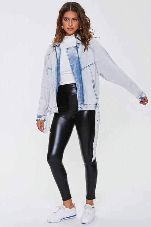 Acid Wash Denim Moto Jacket, image 4