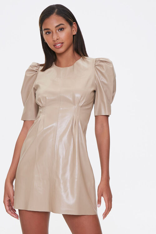 Faux Leather Puff-Sleeve Dress, image 1
