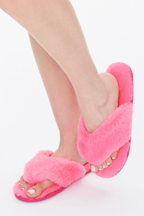 Faux Fur Thong Slippers, image 1