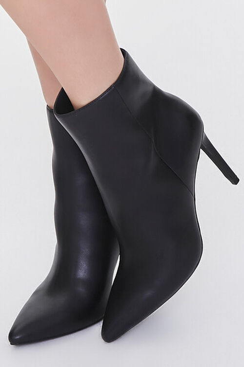 BLACK Faux Leather Stiletto Booties, image 1