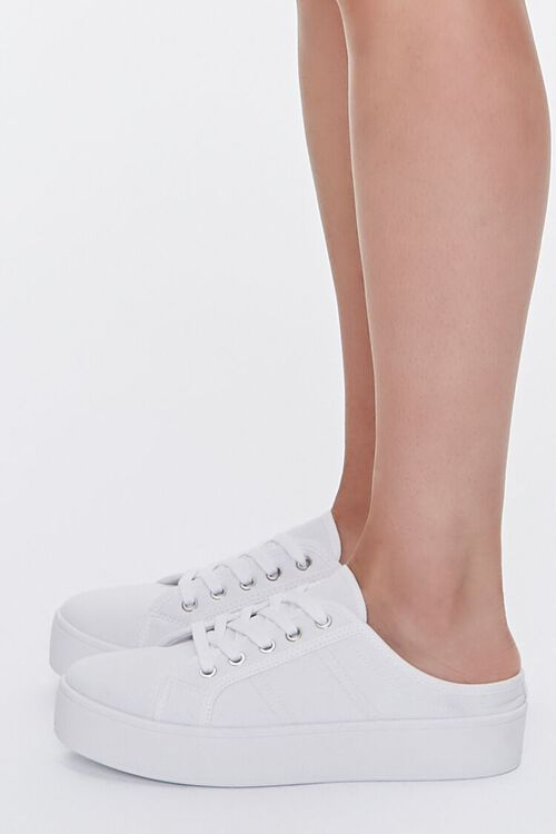 WHITE Low-Top Lace-Up Sneakers, image 2