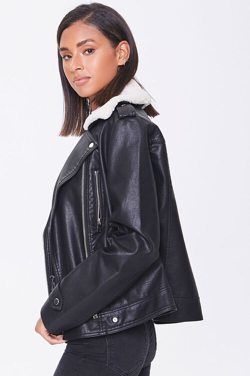 Faux Leather & Shearling Moto Jacket, image 2