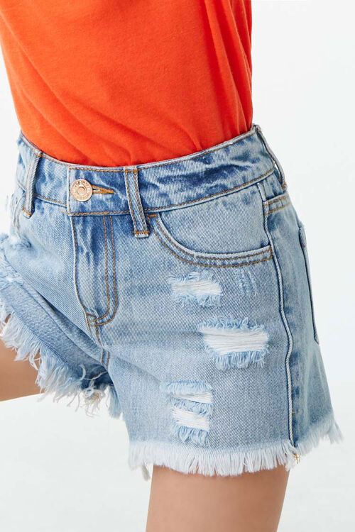 Girls Distressed Denim Shorts (Kids), image 5