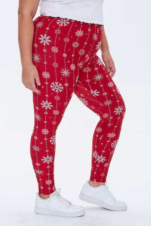 Plus Size Snowflake Print Leggings, image 3