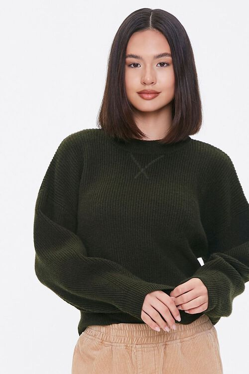 Ribbed Dropped-Sleeve Sweater, image 1