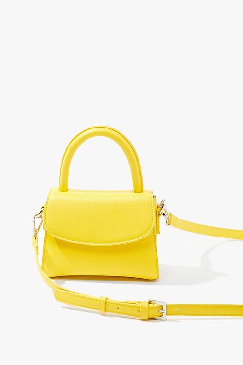 YELLOW Mini Faux Leather Crossbody Bag, image 1