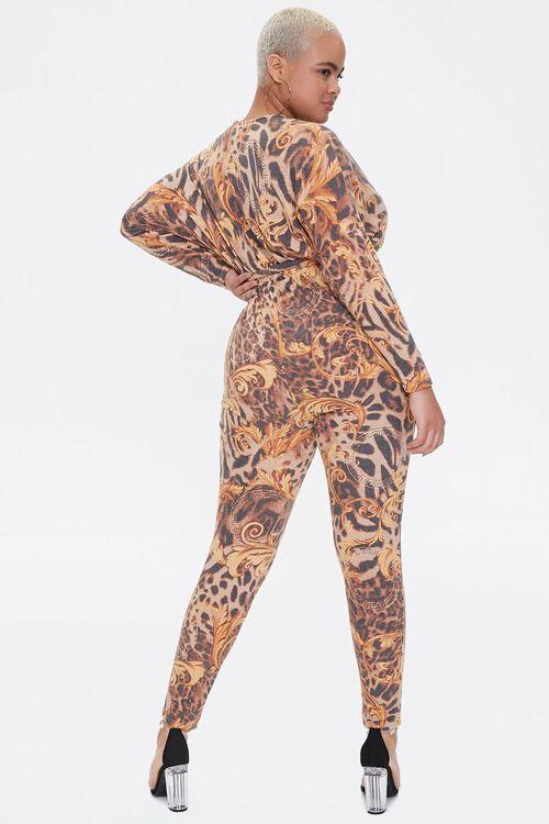 Plus Size Baroque Leopard Print Jumpsuit, image 3