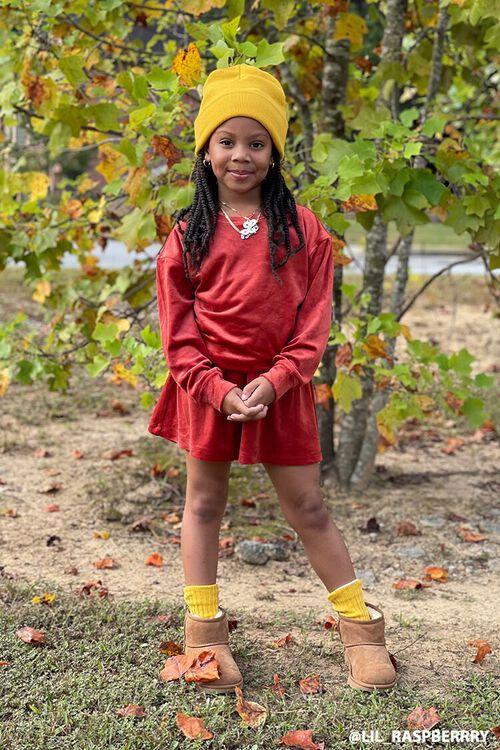 RUST Girls Velvet Tee & Skirt Set (Kids), image 1