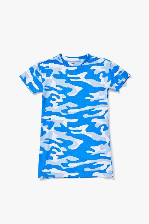 BLUE/MULTI Girls Camo Print T-Shirt Dress (Kids), image 1