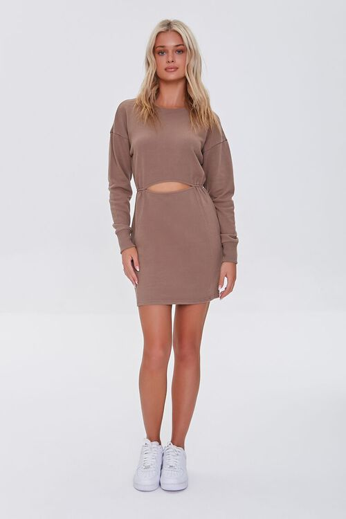 BROWN French Terry Cutout Mini Dress, image 4