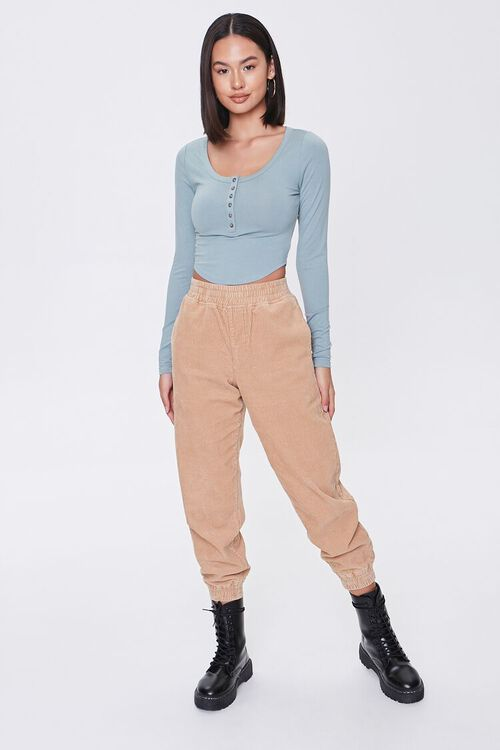 PISTACHIO Cropped Henley Top, image 4