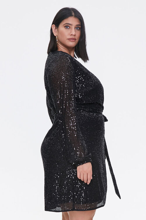 Plus Size Glittered Wrap Dress, image 2