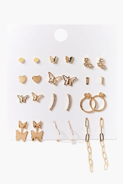 GOLD Butterfly Stud & Drop Earring Set, image 1