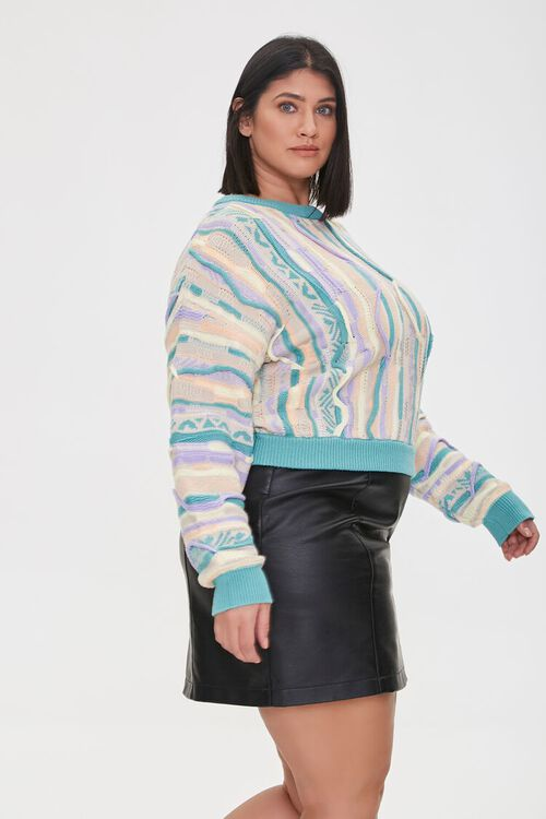 Plus Size Multicolored Cable Knit Sweater, image 2