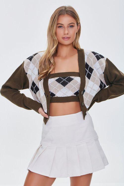 BROWN/MULTI Argyle Bandeau & Cardigan Sweater Set, image 1