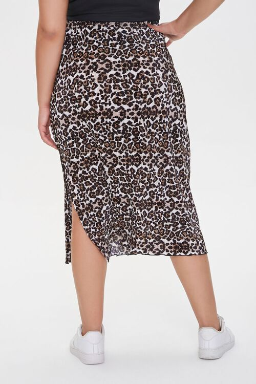 BLACK/MULTI Plus Size Leopard Midi Skirt, image 4