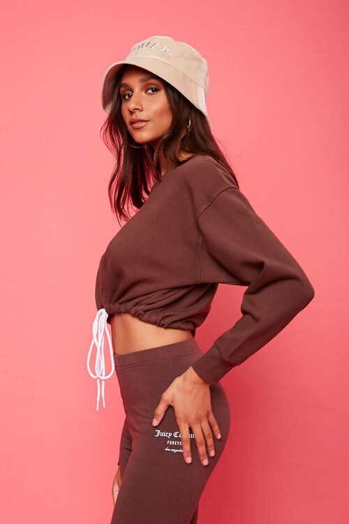 BROWN/WHITE Fleece Juicy Couture Cropped Pullover, image 2