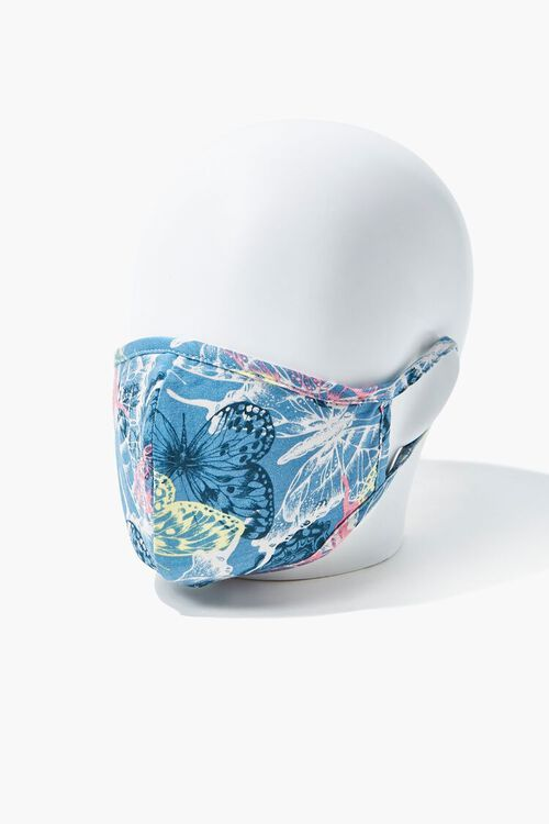BLUE/MULTI Butterfly Print Face Mask, image 2