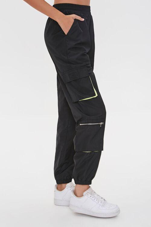 BLACK/MULTI Ankle-Cut Cargo Windbreaker Pants, image 3