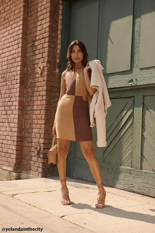 BROWN/LIGHT BROWN Colorblock Halter Mini Dress, image 1