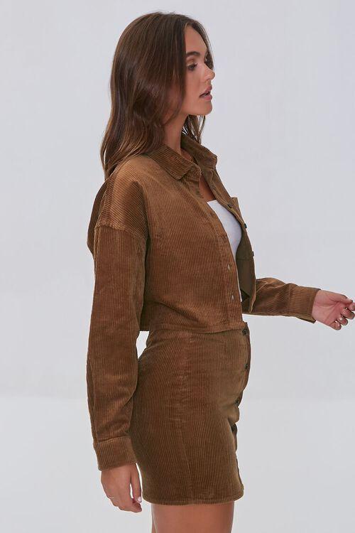 BROWN Corduroy Shirt & Mini Skirt Set, image 2