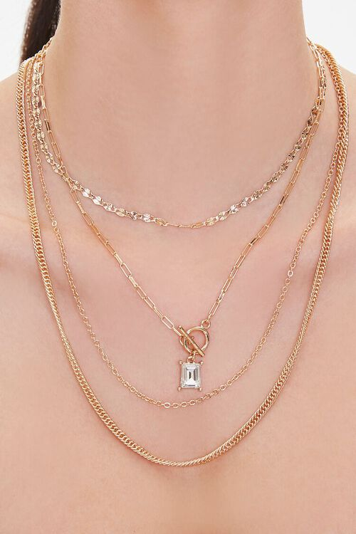 GOLD Faux Gem Layered Chain Necklace, image 1