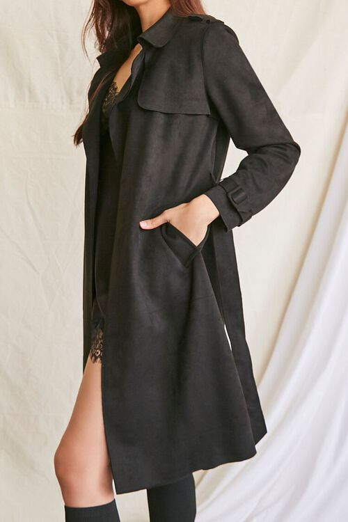 BLACK Faux Suede Duster Trench Jacket, image 2