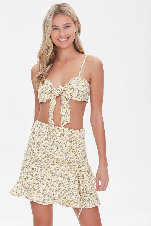 YELLOW/MULTI Floral Print Crop Top & Skirt Set, image 1