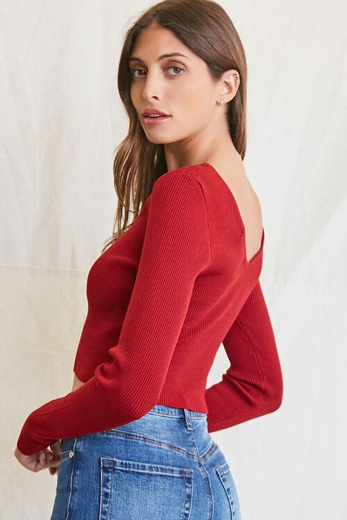 BURGUNDY Ribbed Cropped Sweater, image 2