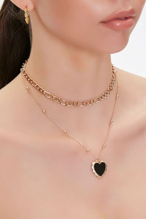 GOLD/BLACK Faux Opal Heart Charm Layered Necklace, image 1