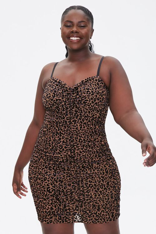 Plus Size Velvet Leopard Dress, image 1