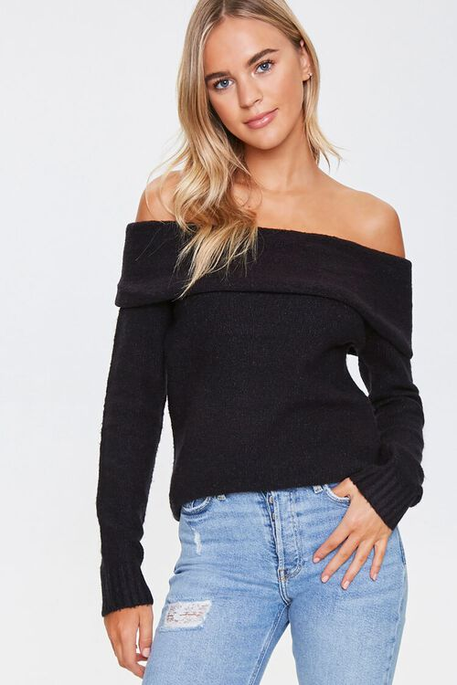 Off-the-Shoulder Ribbed Trim Sweater, image 1