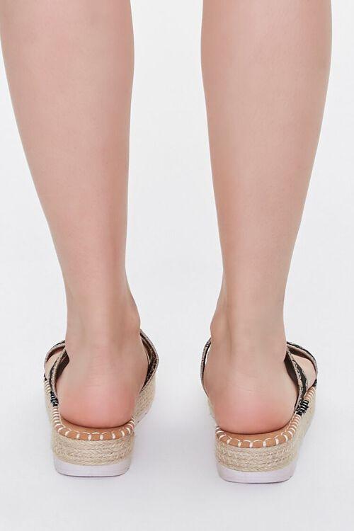 BLACK Threaded Espadrille Flatform Sandals, image 3