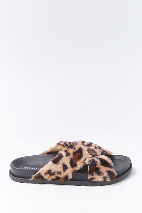 Plush Leopard Print Crisscross Slides, image 1
