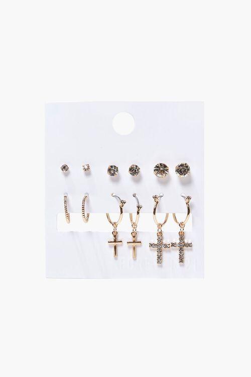 GOLD/CLEAR Rhinestone Stud & Drop Earring Set, image 1