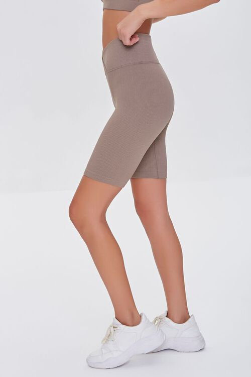 TAUPE Active Seamless Notched Biker Shorts, image 3
