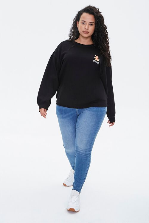 BLACK/MULTI Plus Size Embroidered Hugger Sweatshirt, image 4