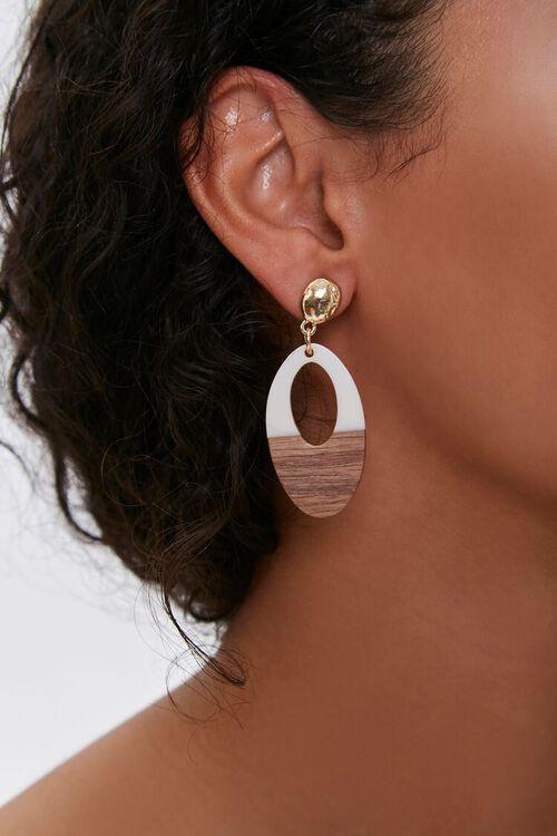 Wooden Cutout Drop Earrings, image 1