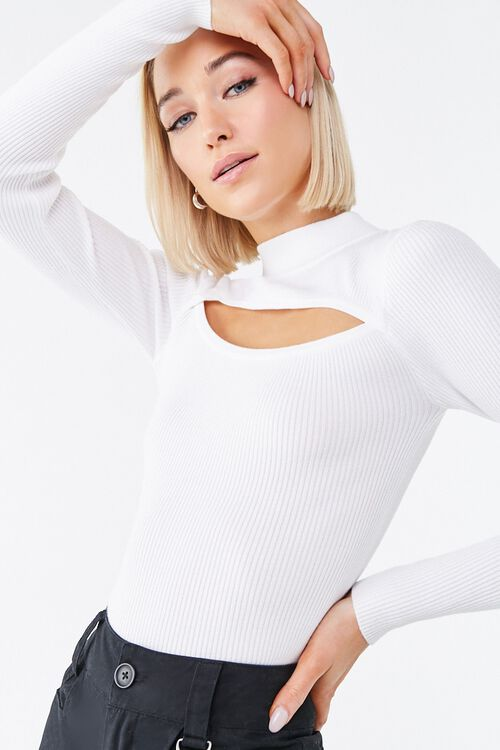Ribbed Cutout Sweater, image 1