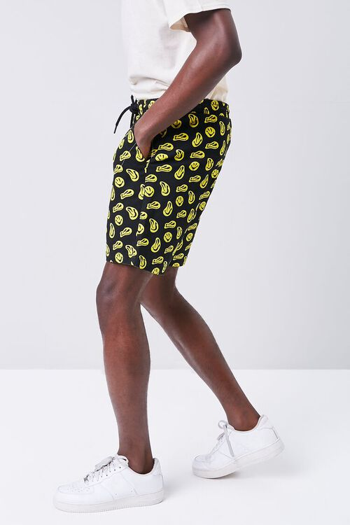 BLACK/YELLOW Smiling Face Print Drawstring Shorts, image 3