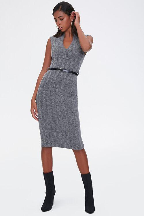 CHARCOAL/BLACK Herringbone Sheath Dress, image 4