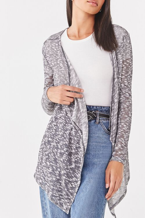 Sheer Marled Open-Front Cardigan, image 1