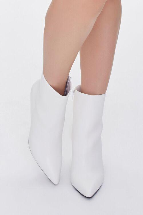WHITE Faux Leather Stiletto Booties, image 4