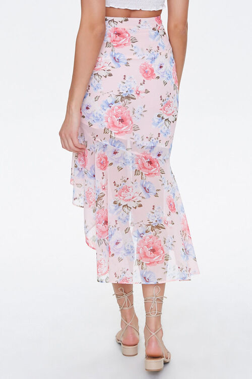 Floral Chiffon High-Low Skirt, image 4