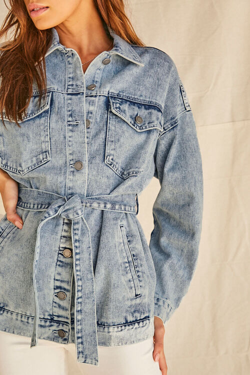 Longline Belted Denim Jacket, image 5