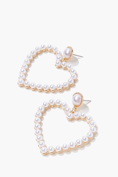 Faux Pearl Heart Earrings, image 2