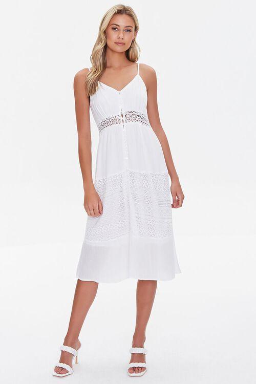 WHITE Lace-Trim Cami Dress, image 4