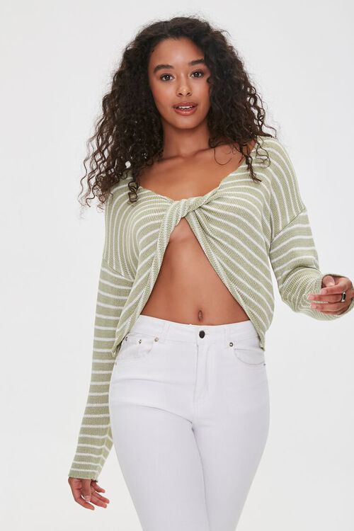 Striped Twist-Front Sweater, image 1