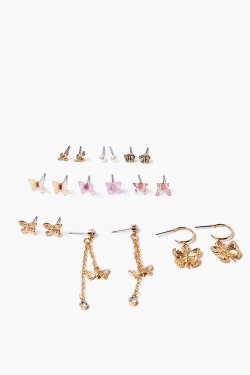 GOLD/PINK Butterfly Drop & Stud Earring Set, image 1